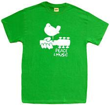 Woodstock t-shirt green white peace and music festival t-shirt guitar t-shirt