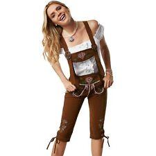 Damen Trachten Lederhose mit Hosen Träger Trachten Hose Kniebund lang braun Wies