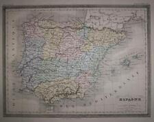1877-SPAIN-BALEARES-PORTUGAL-MEDITERRANEAN SEA-SPAGNA-PORTOGALLO-MAPPA ORIGINALE