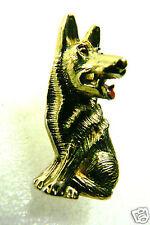 Vintage gold tone metal Signed Gerry's German Shepherd dog pin brooch