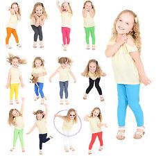 Filles enfants enfants coton pleine longueur leggings tous âges noir vert jaune gris