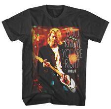 Kurt Cobain Nirvana sabe que es derecho Grunge Rock Camiseta Oficial Negro para Hombre