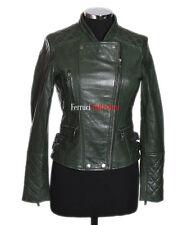 Roxy Green Ladies Biker Style Fashion Real Lamsbkin Leather Jacket
