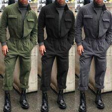 Mens Workwear Jumpsuit Casual Romper Vintage Military Coveralls Slim Fit Pants