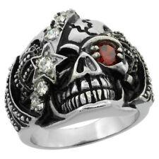 Stainless Steel Gothic Royalty Skull Biker Ring w/ Red & White CZ Stones