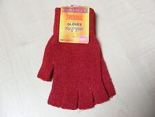 mujer rojo rojo oscuro Térmico Sin Dedos Guantes Elásticos - Talla Única - NUEVO