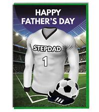 Día Del Padre Fútbol Tarjeta para un Stepdad - Negro y Blanco Equipo Camisa /
