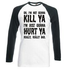 "SUICIDE SQUAD ""NOT GUNNA KILL YA"" UNISEX, RAGLAN, LONGSLEEVE BASEBALL T-SHIRT"