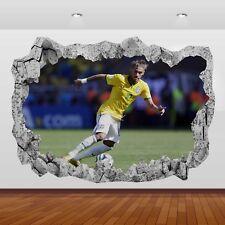 Neymar Jr Brésil PSG Barcelone 3d Smashed Mur Vue Autocollant Poster Vinyle 874