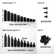M2 M3 M4 Black Plastic Nylon Hex Column Standoff Spacer Phillips Screw Nut New