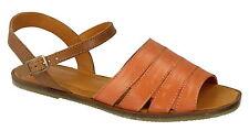 Spot On Leather Collection F0933 Arancione Fibbia in pelle Legato Sandali Estivi