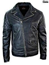 Mens Black Cafe Racer Quilted Brando Biker Motorcycle Genuine Leather Jacket