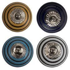 Möbelknopf Porzellan Möbelknauf Schublade Keramik Vintage Shabby Relief Streifen