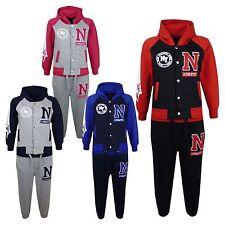 Bambini Bambine Tuta Da Ginnastica N Athletic New York Varsity Felpa Con Cappuccio Tuta Pantaloni sportivi Jogging Inferiore