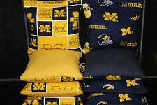 All Weather Cornhole Bean Bags w University of Michigan Wolverines Fabric