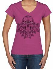 Skull and Roses Tattoo Large Print V Neck Women's T-Shirt - Skulls Hipster Goth