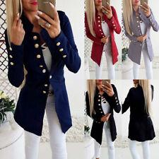 UK Women Slim Long Sleeve Cardigans Jacket Ladies Button Down Office Blazer Coat