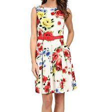NWT MSRP $148 - TAHARI by ASL Belt Emilia Floral Jacquard Dress, Multi-color