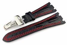 28mm Black/Red Genuine Leather Strap fit Audemars Piguet Royal Oak Offshore