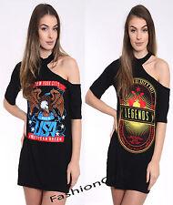 Ladies Shoulder Cut Chocker Neck Legends New York Graphic Long TunicTshirt Dress