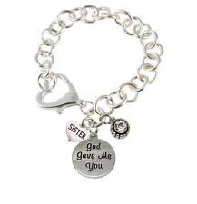 Custom God Gave Me You Family Charms Silver Heart Bracelet Christian Jewelry