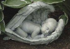 NEW! Sleeping Baby Wrapped in Angel Wings Garden Antique Look Statue Memorial