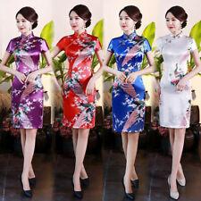 Short Sleeves Silk Satin Cheongsam Chinese Women's Dress Tight Qipao Size S-6XL