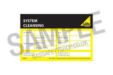 Gas Safe System Cleansing Label