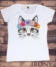 Da Donna Bianco T-shirt Carino Gatto Fiore Fascia Per Capelli-Pretty cat icona ts593