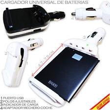 CARGADOR UNIVERSAL BATERIA COCHE MOVIL CAMARA PDA 75 MM USB TOMA MECHERO BATTERY
