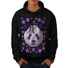 Wellcoda Panda Star Cute Animal Mens Hoodie, Star Casual Hooded Sweatshirt