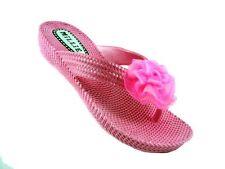 Ladies Flip Flops Sandals Flat Toe Post Flower Beach Wedge Pool Size 3 4 & 6