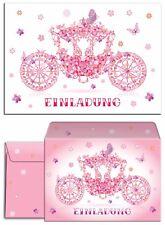 Einladungskarten Mit Umschlägen Kindergeburtstag Mädchen Prinzessin Kutsche