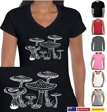 Toadstools Mushrooms t shirt Ladies Women's Singlets Funky size Funny T-Shirts