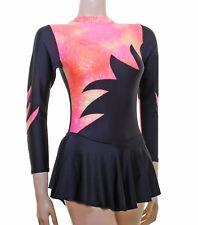 Vestito Da Pattinaggio-Nero Lycra/Pesca Multi Ologramma L/S * Nuovo Design *