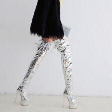 Women Sexy Zip High Heels Platform Stiletto Thigh High Boots Shoes Size 33-47