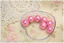 Perle sfuse tonde colore fluo fucsia bigiotteria vetro -40pz- round beads 16mm