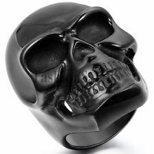 Men's Gothic Biker Rocker Big Large Heavy Black Stainless Steel Skull Ring Band