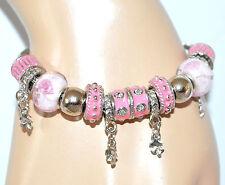 BRACCIALE donna ARGENTO strass CIONDOLI smaltati ROSA brillantini bracelet 5X