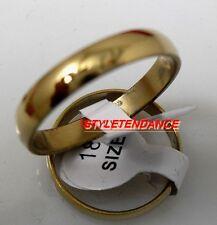 BAGUE ANNEAU BIJOU ALLIANCE MARIAGE FEMME HOMME ADO ACIER NEUVE PLAQUE OR 4mm