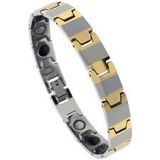 Tungsten Carbide & Ceramic Magnetic Bracelet,2-Tone (Gun Metal & Gold) Bar Links