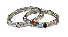 COPPIA di Multicolore Metallico Cristallo, Argento Pietra e Diamante braccialetti Indiano