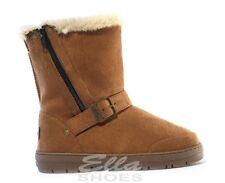 Ella Libby Chestnut Donna Vegan Stivali Fibbia Zip Caviglia FAX pelliccia boot