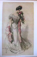 art print~THE WEDDING DRESS~Bride Bridal Roses vtg repro 12x18