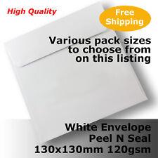 Envelopes HQ White Square 130x130mm Wallet Shape 120gsm Peel N Seal #E35CE