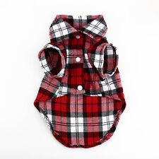 Fashion Small Pet Dog Puppy Plaid T Shirt Lapel Coat Cat Jacket Clothes Costume