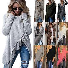 Winter Warm Womens Tassel Jumper Sweater Shawl Coats Poncho Cape Casual Outwear