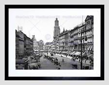 BRESLAU RING OSTSEITE 1900 VINTAGE OLD BW FRAMED ART PRINT MOUNT B12X1751