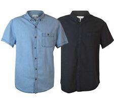 TOPMAN Mens Short Sleeve Shirt in Denim Blue or Charcoal Black NEW