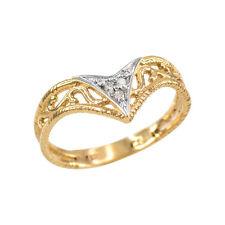 Handcrafted Fine Women's 10k Yellow Gold Cutout Filigree Chevron Diamond Ring